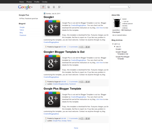 Google Plus Wordpress Teması - Blogizma