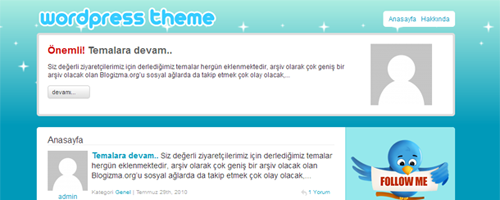 TwitterStars WordPress Twitter Teması Türkçe