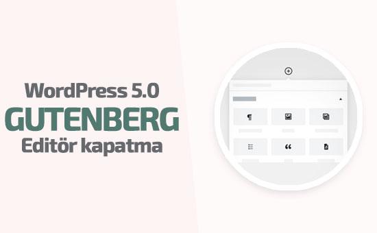 WordPress 5.0 Gutenberg editörü kaldırma